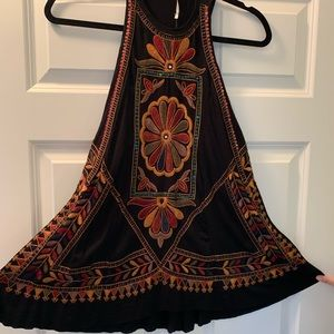 Free people halter neck embroidered floral top.